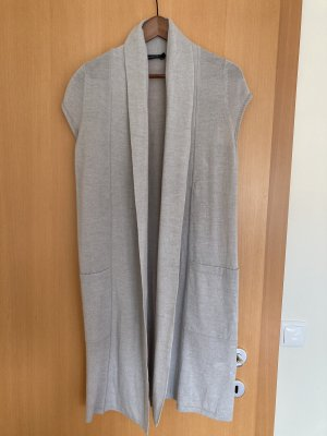 Passport Long Knitted Vest light grey wool
