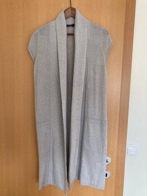 Passport Gilet long tricoté gris clair laine