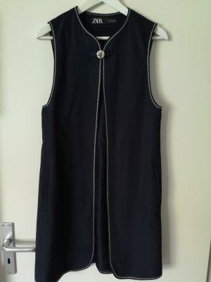 Zara Long Knitted Vest dark blue