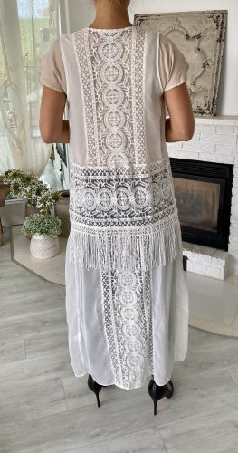 Ananya Cardigan lungo smanicato bianco-argento