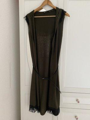Hooded Vest khaki-black polyester