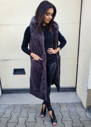 Fur vest dark grey