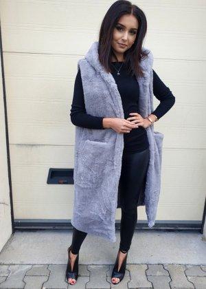 Fur vest light grey