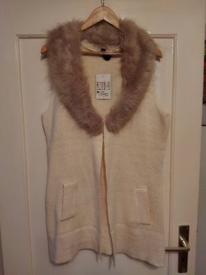 Long Knitted Vest natural white