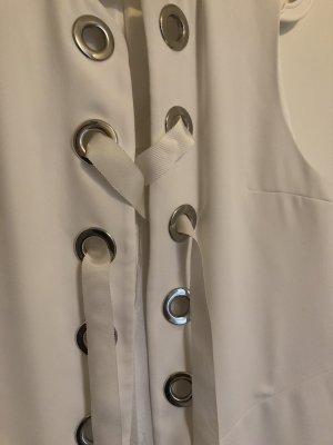 Zara Długa dzianinowa kamizelka biały-srebrny