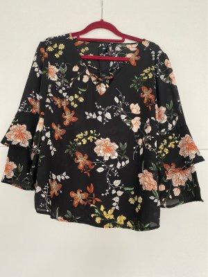 Langearm Bluse in schwarz mit Blumen