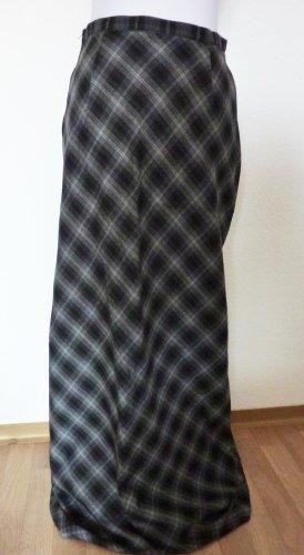langer A Linien Rock Maxirock 38 grau schwarz weiss kariert modisch Herbst Trends