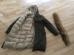 Zara Basic Winter Coat camel-dark green