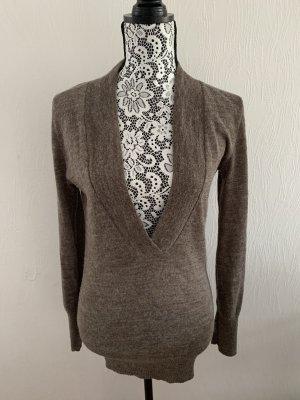 Langer braun-grauer Wollpullover von Motivi Gr. M