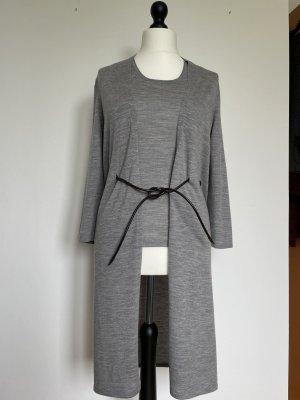 René Lezard Knitted Cardigan light grey-dark brown