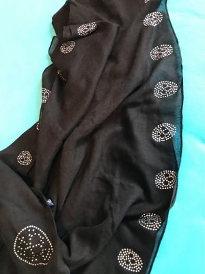 0039 Italy Écharpe en soie noir coton