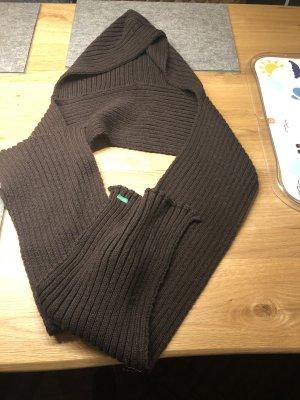 Langer dunkelbrauner Schal mit Kaputze von Benetton