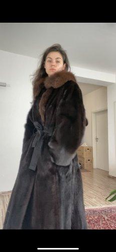 Vintage Manteau de fourrure brun-brun noir