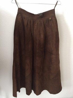 Aigner Skórzana spódnica czarno-brązowy