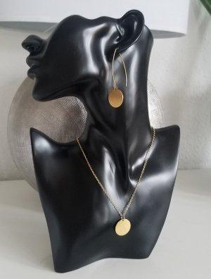 Langer Ohrhänger mit großem Plättchen-Anhänger (Goldfarben)