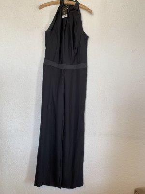 Langer Overall Jumpsuit schwarz mit weitem Bein