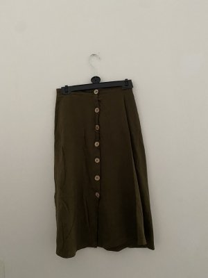 Pull & Bear Maxi Skirt dark green-olive green