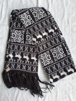 Écharpe à franges noir-blanc cassé acrylique