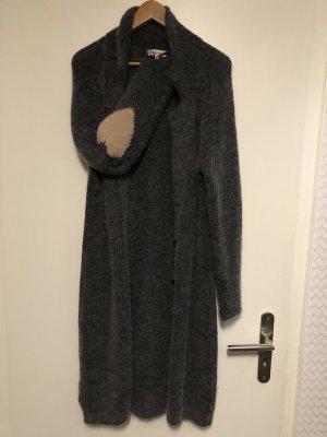 19V69 ITALIA Długa kurtka brązowo-fioletowy-ciemnoniebieski Wełna