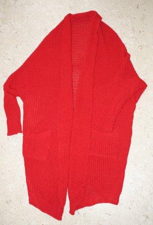 Płaszcz z dzianiny ciemnoczerwony