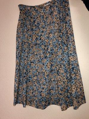 Falda plisada azul aciano-rosa empolvado