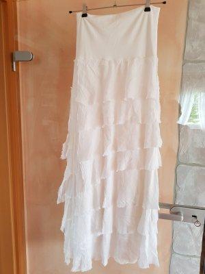 Spódnica z falbanami biały Wiskoza