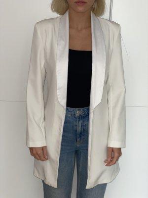 Langer weißer Blazer mit Samtverziehrung Gr. S