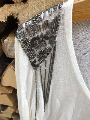 langer weißer Pulli mit silbernen Pailletten und Perlen (NEU)