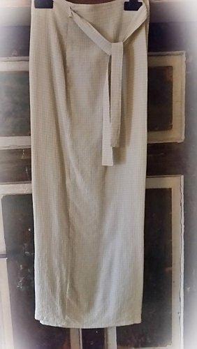 ♥ Langer Wickelrock von Zabaione Gr. L, beige/ weiß leichter Crincle-Effekt ♥