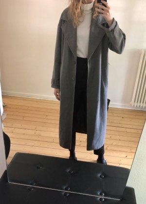 Asos Długi płaszcz jasnoszary-szary Tkanina z mieszanych włókien