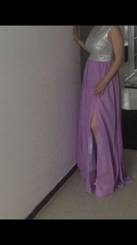 Chicwish Evening Dress silver-colored-purple