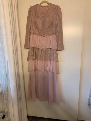 Langes Abendkleid mit Rosen Muster und Rüschen Abiye