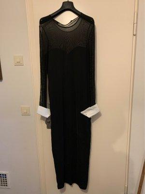 Vestido de chifón negro-blanco
