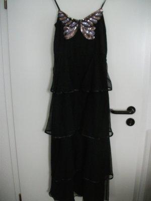 langes Abendkleid von Vera Mont, Gr. 36, schwarz mit Pailletten Schmetterling