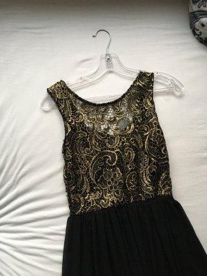 Asos Vestido de baile negro-color oro