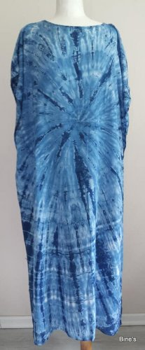 Aus Indien Sukienka boho niebieski neonowy-biały Bawełna