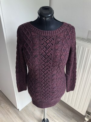 H&M DENIM Coarse Knitted Sweater black-bordeaux