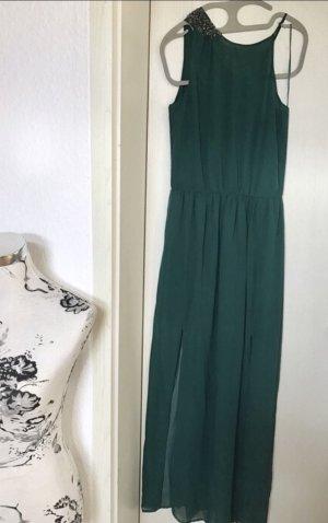 Langes halbtransparentes Kleid mit asymmetrischen Trägern, schulterfrei, Zara