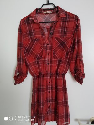 Bershka Blouse Dress dark red-brick red