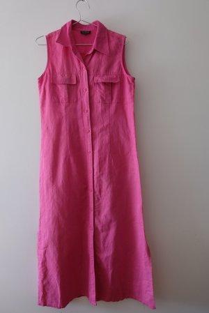 langes Hemdblusenkleid aus Baumwolle und Ramie