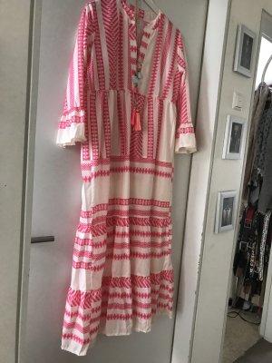 Vestido Hippie rosa-blanco