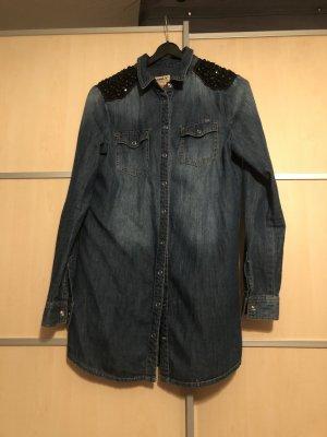 Only Blouse en jean bleu foncé-noir