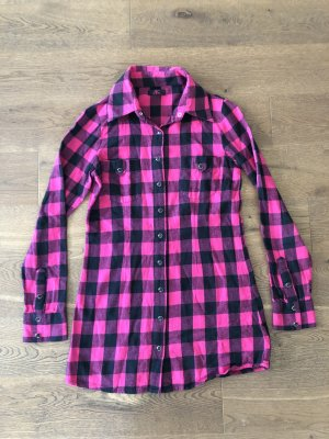 Flanellen hemd zwart-roze