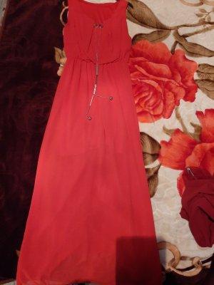 100% Fashion Vestido de manga corta rojo