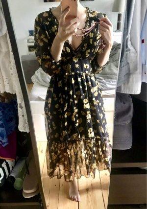 Langes Kleid Blumen schwarz Gelb spitze S neu