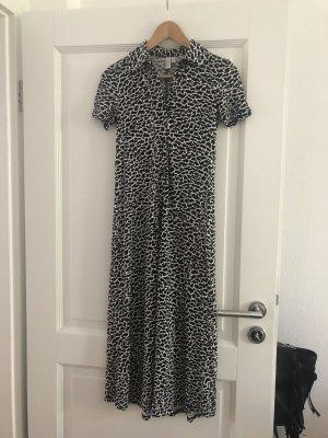 Langes Kleid in leopardenprint schwarz weiß