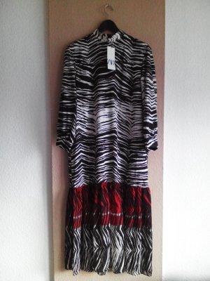 Langes Kleid in weiß-schwarz-rot Zebramuster, Größe S neu
