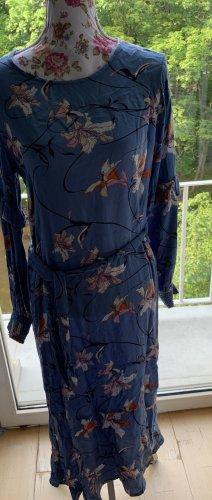 Langes Kleid mit Blumen Kaffe Gr.36