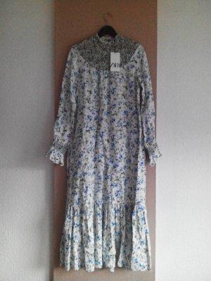 langes Kleid mit Blumenprint in hellblau, Grösse L, neu