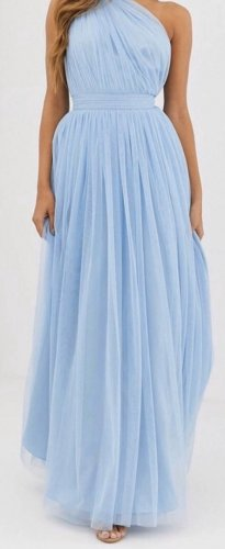 Asos One Shoulder Dress azure-baby blue